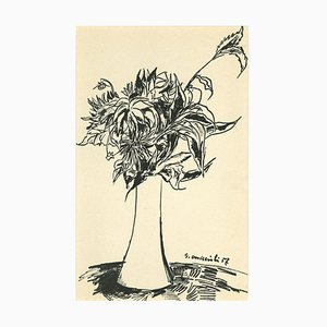 Vase of Flowers Drawing in Pen by Giovanni Omiccioli, 1957