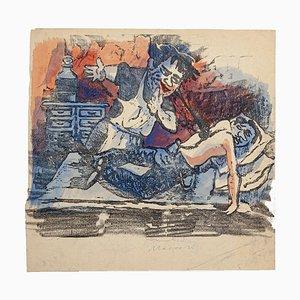 The Bed and the Portraits Holzschnitt von Mino Maccari, 1920er