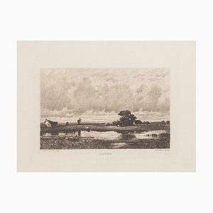 Landscape Etching by C. Pinet after-Jules Dupré, 19th Century