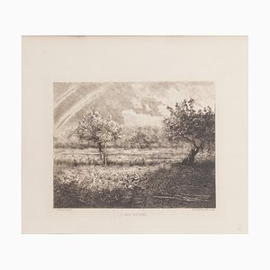 L'Arc en Ciel Etching by R.P. Grouiller after J.F. Millet, 19th Century