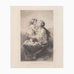Psyche and Love Etching on Paper by Narcisse Virgilio Diaz, 1800