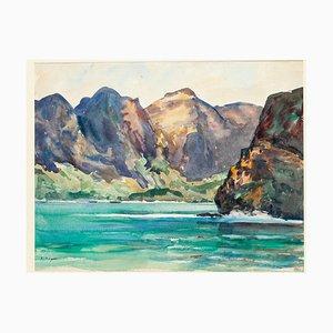 Nuka-Hiva the Bay of the Virgins Aquarell auf Karton von André Ragot, 1950er