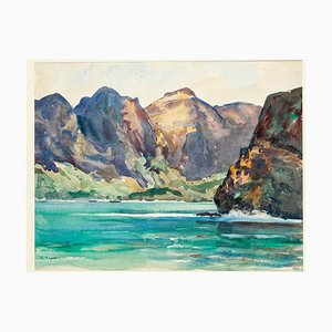 Nuka-Hiva the Bay of the Virgins Watercolor on Cardboard by André Ragot, 1950s