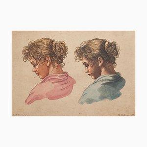 Acquaforte Portrait su carta di Annibale Carracci, XX secolo