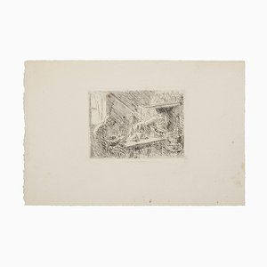 Vertraute Szene Radierung von Maurice Asselin, 20. Jahrhundert