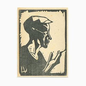 Sailor Woodcut Print by Lorenzo Vian, 1930s