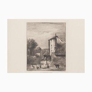 Gravure à l'Eau-Forte La Gardeuse D'Oies par Ch. Bourgeat d'après Constant Troyon, 1900