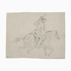 Soldier on Horse Back Pencil Drawing, 19. Jahrhundert