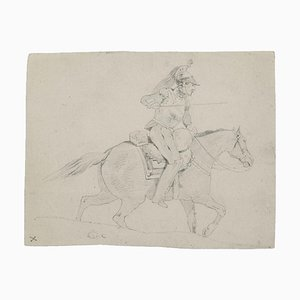 Soldier on Horseback Pencil Drawing, 19th Century