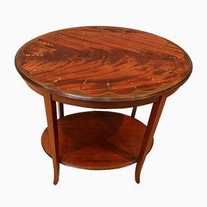 Antique Edwardian Inlaid Mahogany Oval Table
