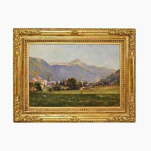 Pintura al óleo antigua sobre el paisaje del valle de la montaña