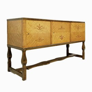 Swedish Birch Art Deco Intarsia Buffet, 1930s