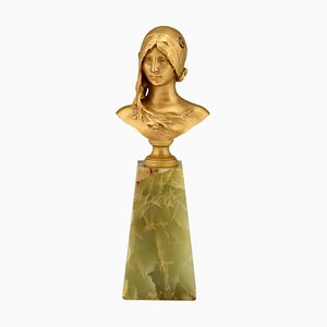 Jean Antonin Carles for Siot Foundry, Art Nouveau Bust of a Young Woman, Bronze
