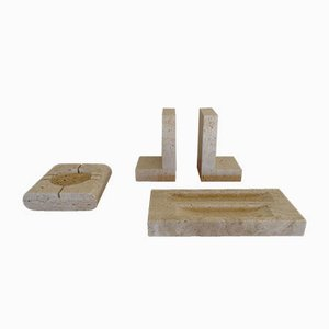 Travertine Bookends with Pen Holder & Ashtray, 1970s, Set of 3