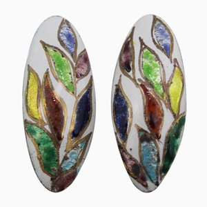 Enamel Earclips from Atelier Casanova, 1950s, Set of 2
