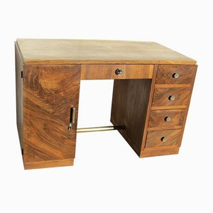 Art Deco Walnut Minister Cabinet Desk, 1930s