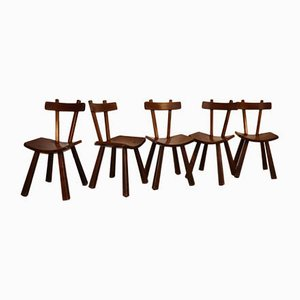 Brutalist Elm Dining Chairs, 1960s, Set of 5