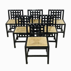 Antique Hill House Model Side Chairs by Charles Rennie Mackintosh for Cassina, Set of 6