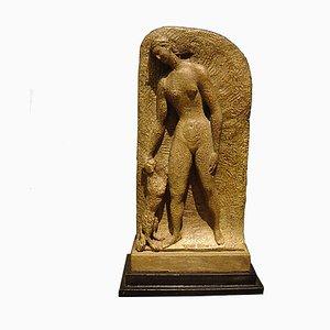 Toni Boni, Weiblicher Akt mit Hund, 1930er, Bronze Skulptur