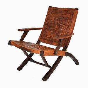 Mid-Century Modern Ecuadorianischer Klappstuhl aus Holz & Leder von Angel Pazmino