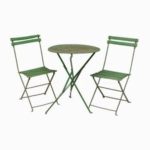 Green Folding Garden Chairs and Table Set, 1920s, Set of 3