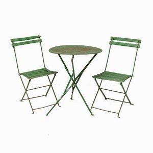 Sillas de jardín plegables en verde y juego de mesa, años 20. Juego de 3