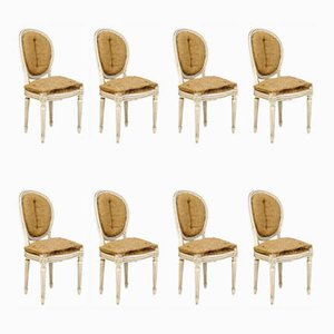 White Oval Dining Chairs, 1920s, Set of 8