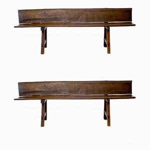 Rustic Oak Benches, 1800, Set of 2