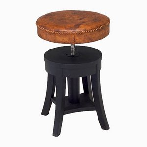 Antique Adjustable Height Stool With Leather Seat.