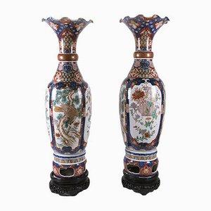Large Imari Porcelain Vases, 1800, Set of 2