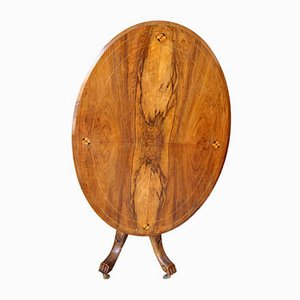 19th-Century Oval Walnut & Solid Oak Table with Inlaid Top