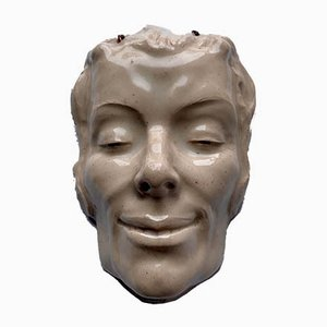 Art Deco Ceramic Face Mask from Flinn, 1920s