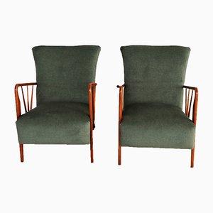 Vintage Italian Green Velvet Armchair, 1950s, Set of 2
