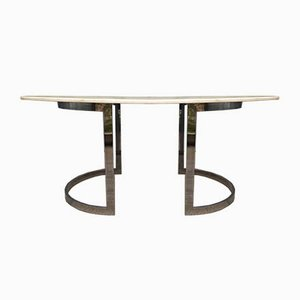 Oval Marble and Chrome Dining Table by Paul Legeard, 1970s