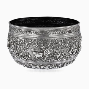 19th Century Burmese Solid Silver Handcrafted Bowl, 1880
