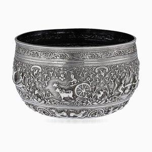 Burmesische handgemahlene Schale aus solidem Silber, 1880