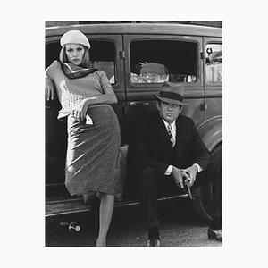 Warren Beatty und Faye Dunaway Archivdruck in Schwarz