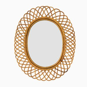 Vintage Italian Wicker and Bamboo Mirror in the Style of Franco Albini, 1960s