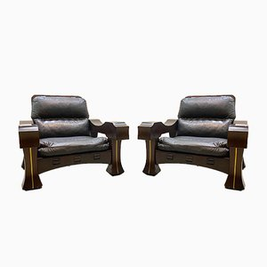 Mid-Century Model Ussaro Armchairs by Luciano Frigerio, 1960s, Set of 2