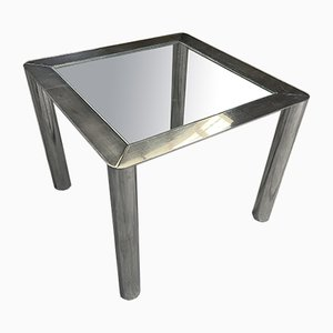 Mid-Century Modern Italian Model 912 Table with Chromed Steel Structure and Glass Top by Sergio Mazza and Giuliana Gramigna for Cinova. 1960s