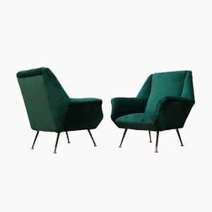 Mid-Century Danish Modern Forest Green Velvet Chairs With Armrests, 1960s, Set of 2