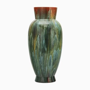Large Aesthetic Movement Blue-Green Drip Glazed Vase by Christopher Dresser for Linthorpe Pottery