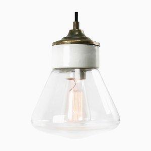 Lampe à Suspension Industrielle Vintage en Porcelaine Blanche en Laiton et Verre