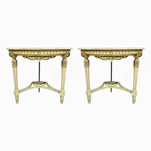 Louis XVI Venetian Consoles in Gilded, Lacquered and Painted Wood, Set of 2