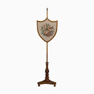 Antique English Fireside Pole Screen