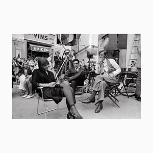 French Actors on Set Archival Pigment Print Framed in Black by Jean-Pierre Bonnotte