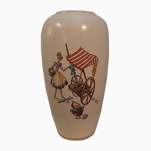 Keramikvase mit Mediterraner Szene von Hans Welling für Ruscha, 1950er