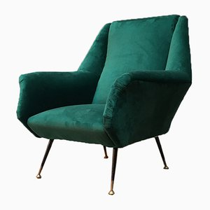 Mid-Century Danish Modern Forest Green Velvet Chair With Armrests, 1960s