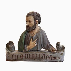 19th Century Wood Carved Figure of a Saint