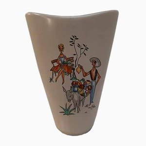 Ceramic Vase with Mediterranean Scene by Hans Welling for Ruscha, 1950s